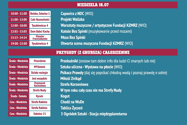 Kazimiernikejszyn 2021 Harmonogram